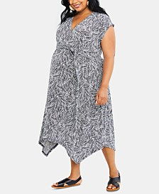 Motherhood Maternity Plus Size Handkerchief-Hem Midi Dress