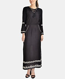 Embroidered Lace-Up Maxi Dress