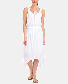 Petite Crochet-Trim High-Low Maxi Dress