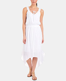 NY Collection Petite Crochet-Trim High-Low Maxi Dress