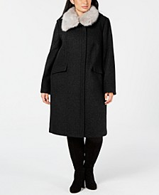 Plus Size Faux-Fur-Collar Coat
