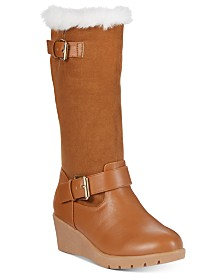 Rampage Little and Big Girls Wedge Riding Boots