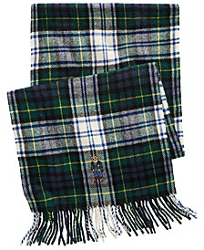 Men's Embroidered Bear Tartan Scarf