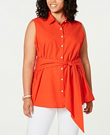 Plus Size Cotton Dot-Print Tie-Waist Shirt, Created for Macy's
