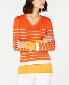 Tommy Hilfiger Striped V-Neck Cotton Sweater, Created for Macy's
