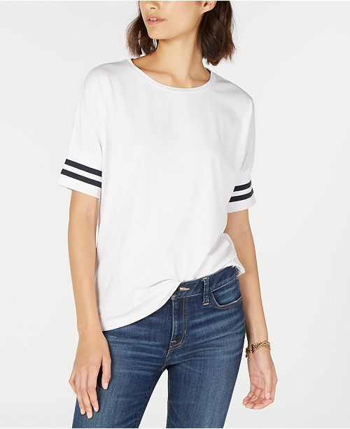 Tommy Hilfiger Striped-Cuff Crewneck Top, Created for Macy's