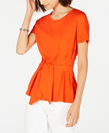 Tommy Hilfiger Tie-Front Short-Sleeve Top, Created for Macy's