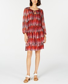 Tommy Hilfiger Printed Tie-Neck Blouson Dress, Created for Macy's
