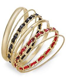 Thalia Sodi Gold-Tone 6-Pc. Set Animal Print Chain Bangle Bracelets, Created for Macy's