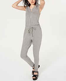 Juniors' Hooded Sleeveless Zip-Front Jumpsuit, Created for Macy's