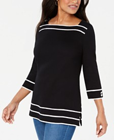 Karen Scott Cotton Piping-Trim Top, Created for Macy's