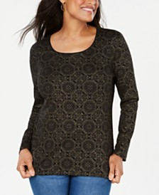 Karen Scott Shimmer Medallion Top, Created for Macy's