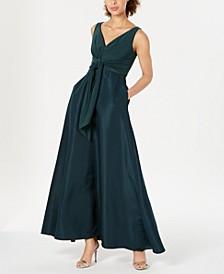 V-Neck Tie-Waist Gown