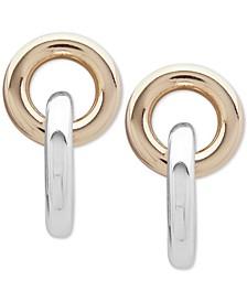 Two-Tone Circle & Bar Drop Earrings