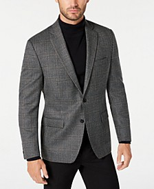 Men's Classic-Fit UltraFlex Stretch Gray/Brown Plaid Sport Coat