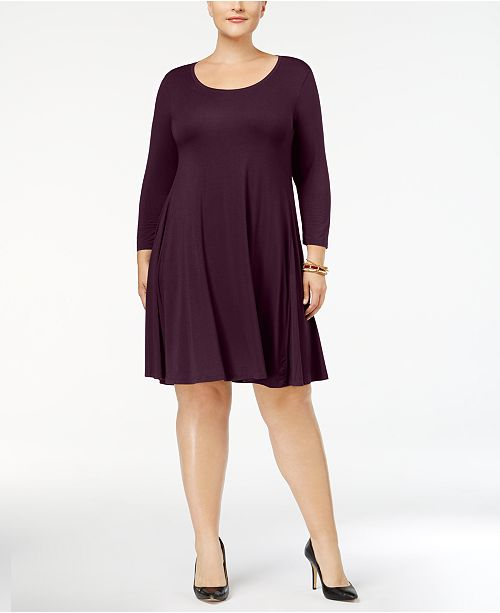 Plus Size Scoop Neck Swing Dress, Created for Macy\'s