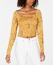 Juniors' Smocked Ruffle-Trimmed Top