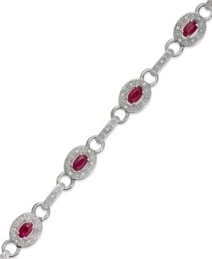 Sterling Silver Bracelet, Ruby and Diamond Oval Link Bracelet (2-3/4 ct. t.w.)