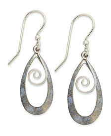 Jody Coyote Patina Bronze Earrings, Light Blue Tear-Shaped Swirl Drop Earrings