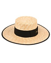 bc1281dc Angela & William Braid Natural Straw Women's Boater Hat with Black Band