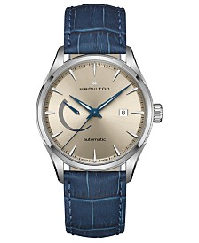 Hamilton Men's Swiss Automatic Jazzmaster Blue Leather Strap Watch 42mm