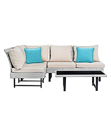 Aleron Rattan Sectional And Coffee Table
