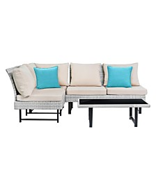 Aleron Rattan Sectional And Coffee Table, Quick Ship
