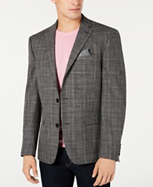 Bar III Men's Slim-Fit Stretch Black/White Plaid Sport Coat, Created for Macy's