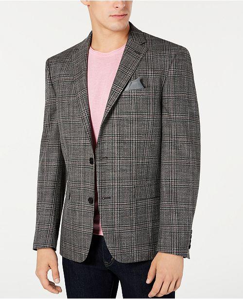 Bar III Men's Slim-Fit Stretch Black/White Plaid Sport Coat, Created for Macy's