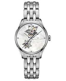 Women's Swiss Automatic Jazzmaster Diamond Accent Stainless Steel Bracelet Watch 34mm