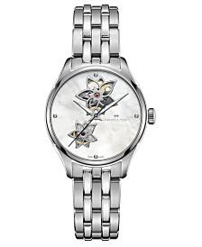 Hamilton Women's Swiss Automatic Jazzmaster Diamond Accent Stainless Steel Bracelet Watch 34mm