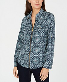 Printed Zip-Front Utility Shirt, Regular & Petite Sizes