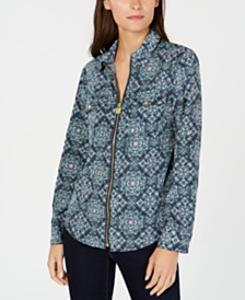Michael Michael Kors Printed Zip-Front Utility Shirt, Regular & Petite Sizes