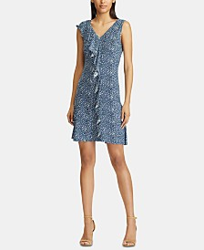 American Living Floral-Print Ruffle-Trim Jersey Dress