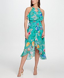 Ruffle Floral-Print Dress