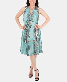 Sleeveless Fit & Flare Paisley Keyhole Dress