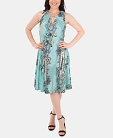 Sleeveless Fit & Flare Paisley Keyhole Dress