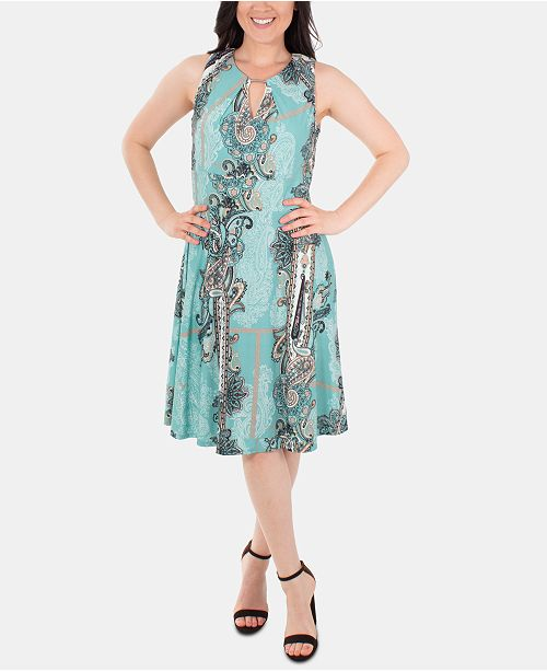 NY Collection Sleeveless Fit & Flare Paisley Keyhole Dress