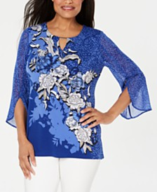 JM Collection Embellished Split-Sleeve Top, Created for Macy's