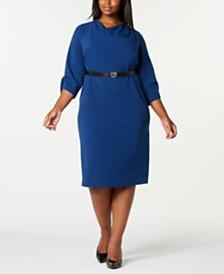 Calvin Klein Trendy Plus Size Cowl-Neck Sheath Dress