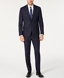 Men's Modern-Fit Stretch Navy/Light Blue Windowpane Suit Separates
