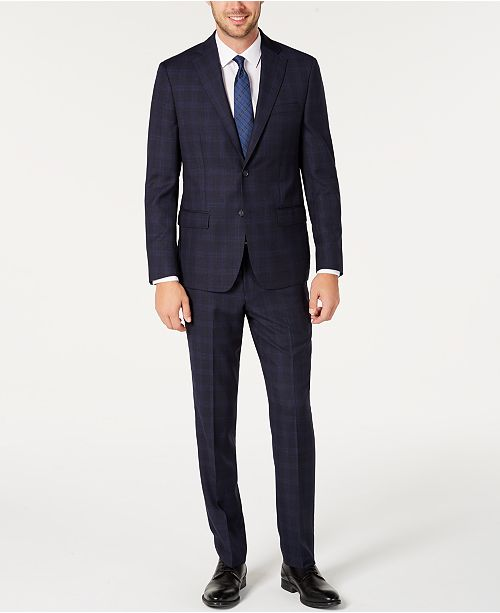 DKNY Men's Modern-Fit Stretch Navy/Light Blue Windowpane Suit Separates
