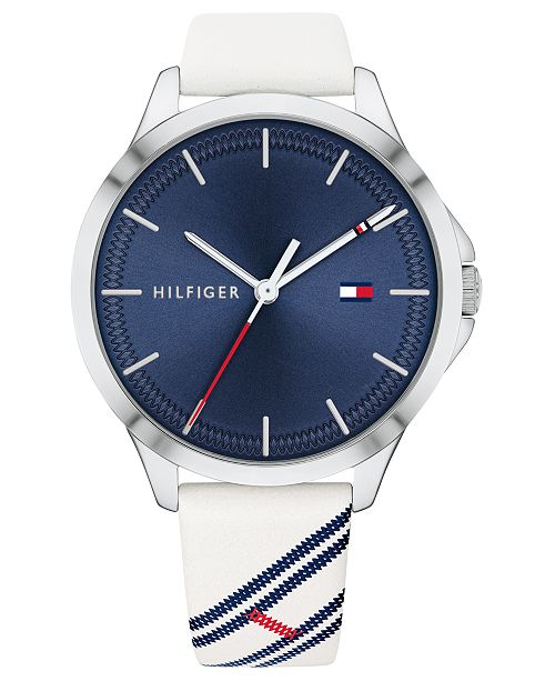 Tommy Hilfiger Women's White Leather Strap Watch 38mm, Created for Macy's
