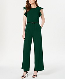 Belted Ruffle-Sleeve Jumpsuit