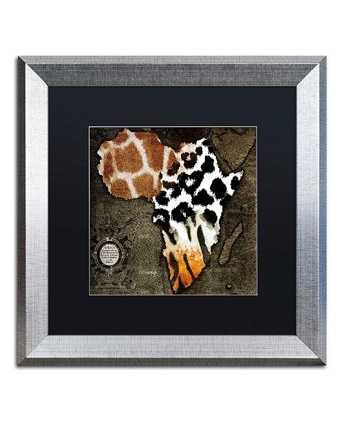 "Trademark Global Color Bakery 'Animal Map Of Africa' Matted Framed Art - 16"" x 16"""