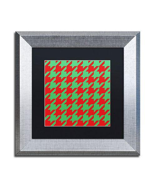 "Trademark Global Color Bakery 'Xmas Houndstooth' Matted Framed Art - 11"" x 11"""