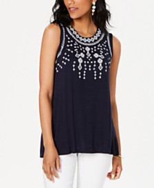Style & Co Embellished Sleeveless Top, Created for Macy's