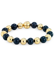 Onyx Bead & Diamond Accent Bangle Bracelet in 14k Gold Over Resin, Created for Macy's