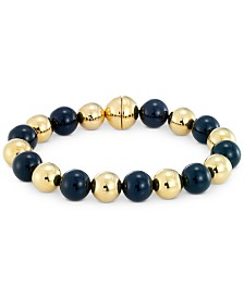 Signature Gold Onyx Bead & Diamond Accent Bangle Bracelet in 14k Gold Over Resin, Created for Macy's
