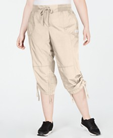 Calvin Klein Performance Plus Size Cropped Ruched Cargo Pants